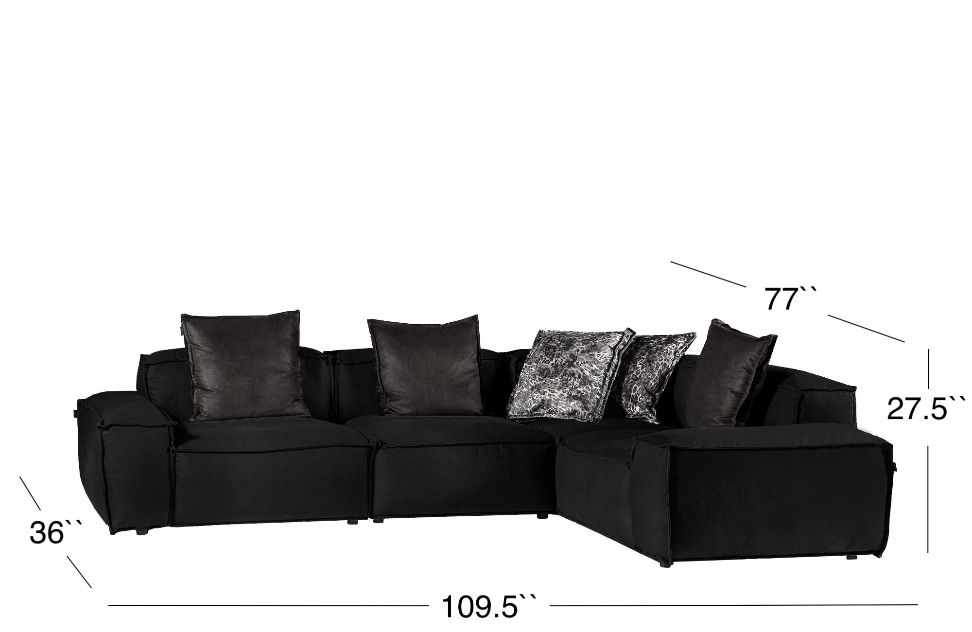 Elia Sectional Sofa - Black