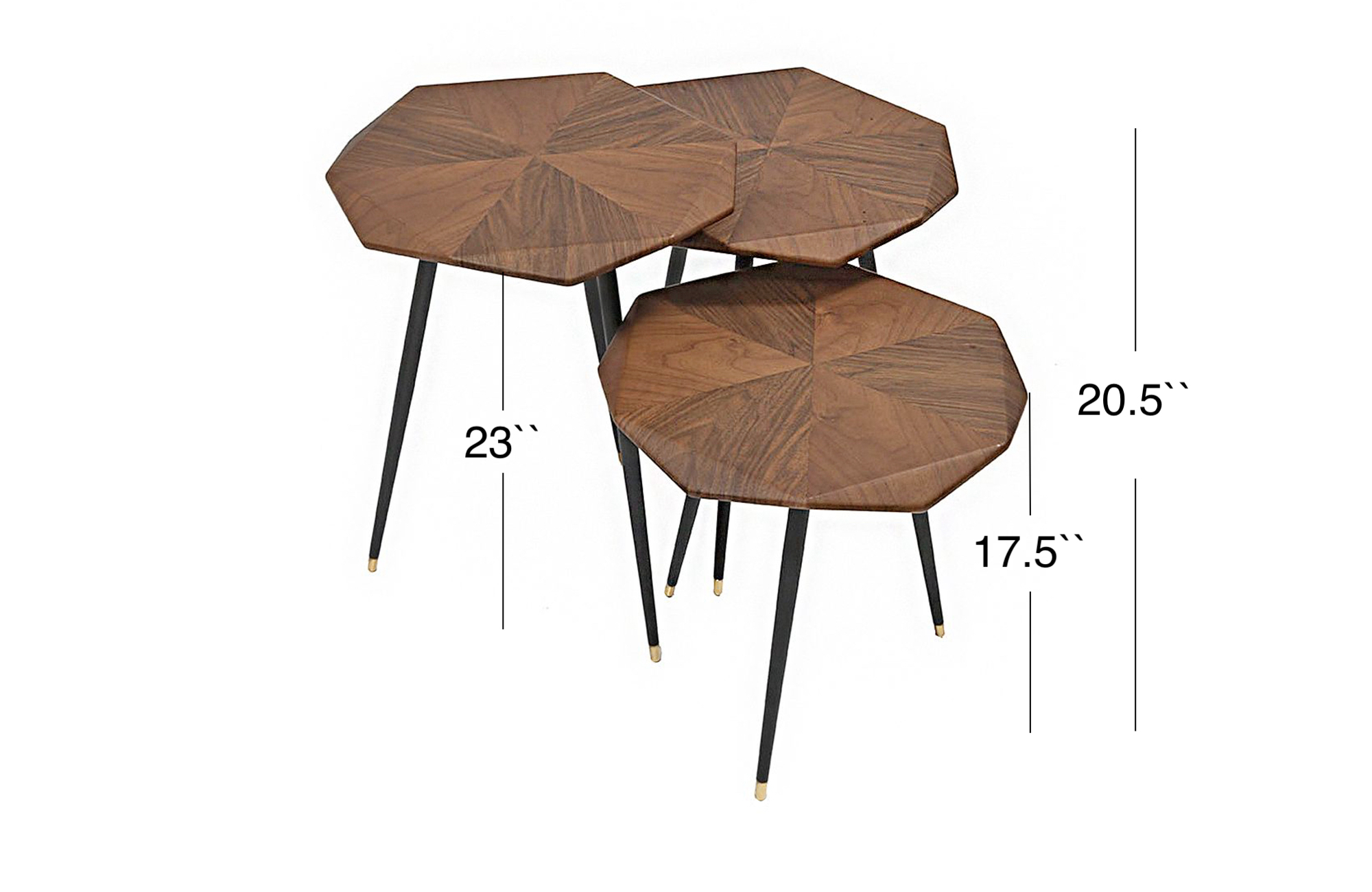 Gemma Side Table Set - Walnut