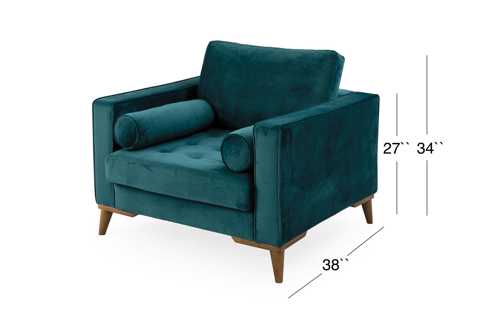 Midtown Lounge Chair - Turquoise - Velvet